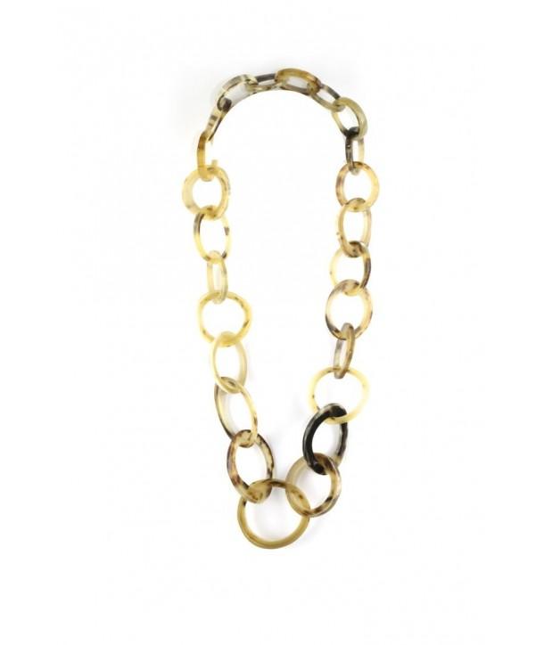 Sautoir anneaux irréguliers en corne blonde