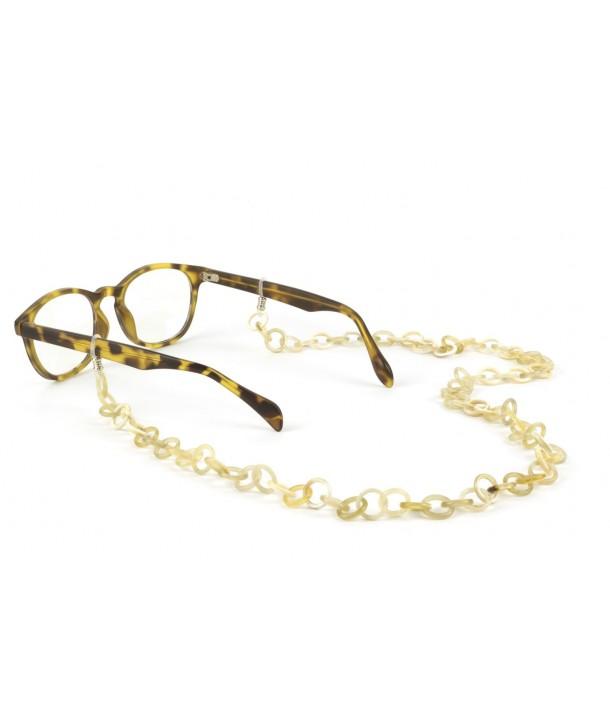 Small rings eyeglasses chain in blond horn