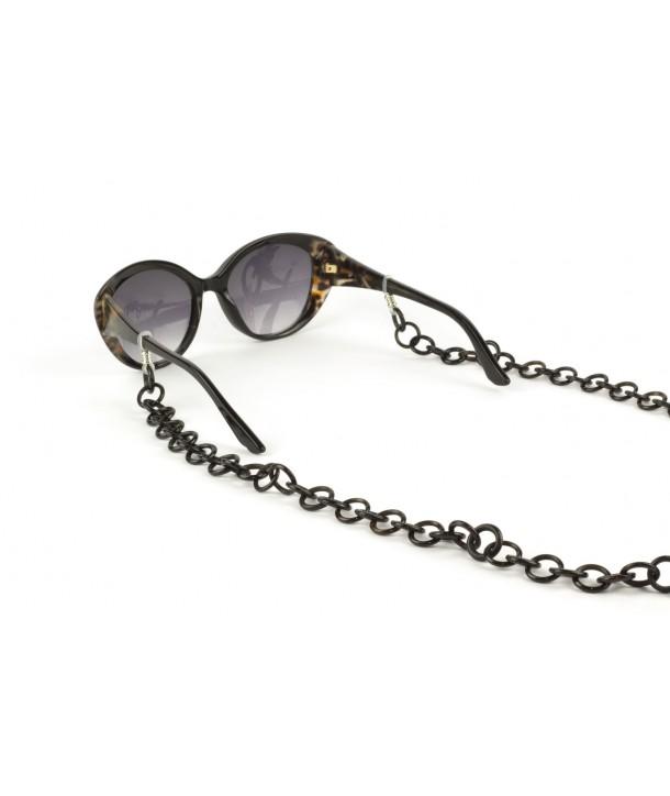 Chaîne lunette petits anneaux en corne noire unie