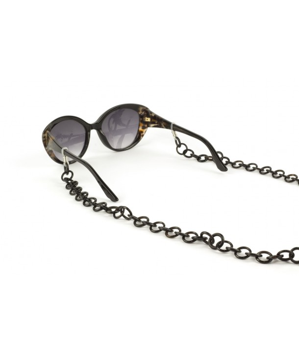 Small rings eyeglasses chain in plain black horn