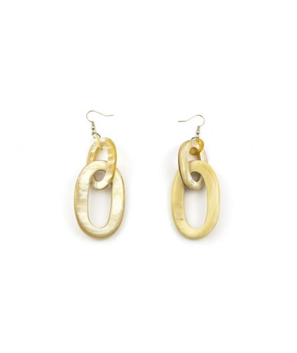 Boucles d'oreilles 2 anneaux ovales en corne blonde