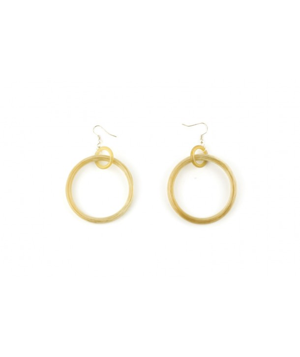 Big and small rings earrings in blond horn