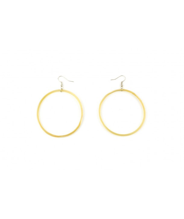 Large single ring earrings in blond horn
