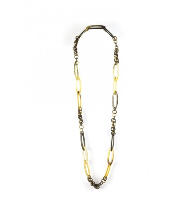 Thin oval and round rings long necklace in blond horn