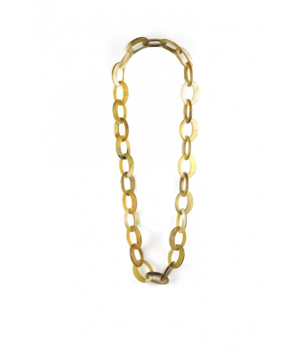 Off-centered oval rings long necklace in blond horn