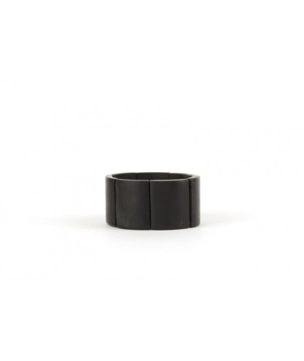 Articulated 7 piece bracelet in matte black horn
