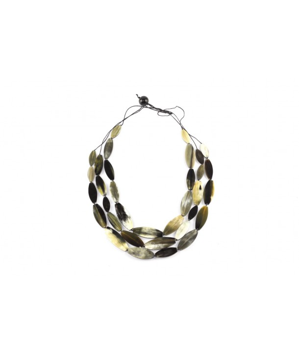 Garland necklace in marbled black horn