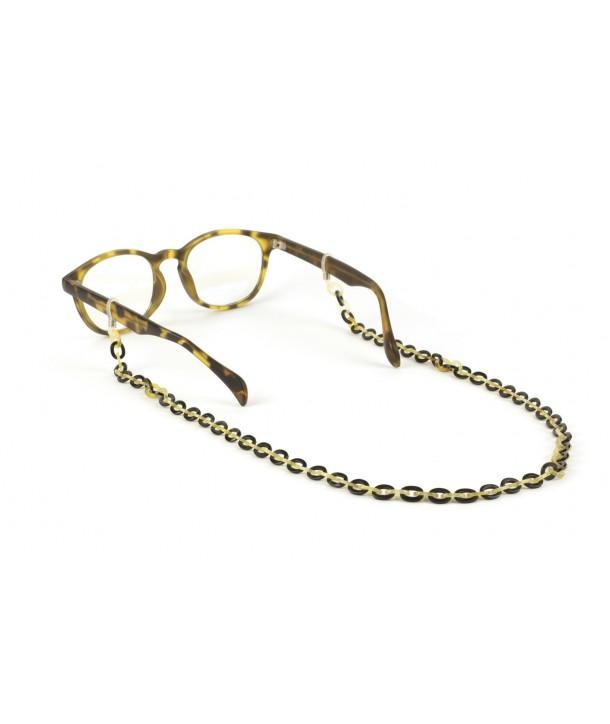 Chaîne lunettes maille ultra fine en sabot et corne noire