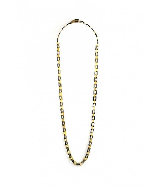 Fine rectangular mesh long necklace in blond and black horn