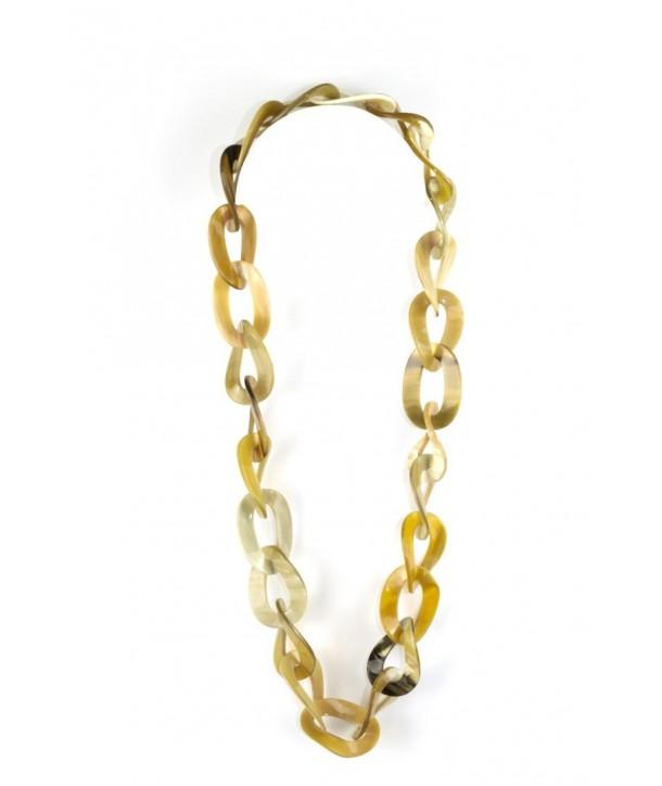 Sautoir anneaux ovales torsadés en corne blonde