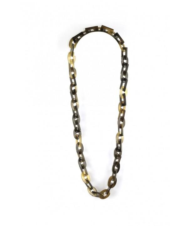 Sautoir anneaux larges ovales et rectangulaires en sabot