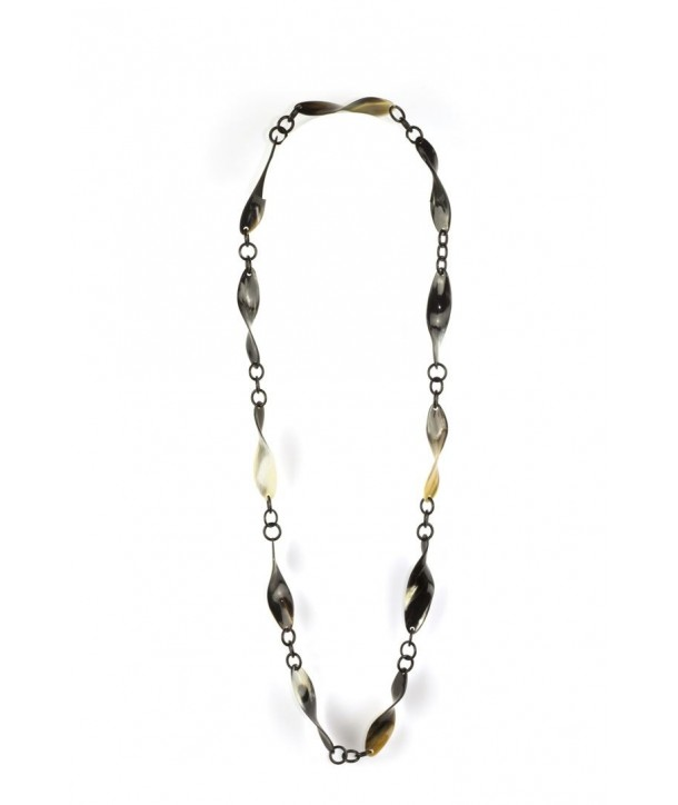 Twisted pieces long necklace in marbled black horn