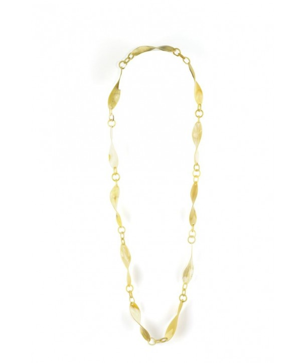 Twisted pieces long necklace in blond horn