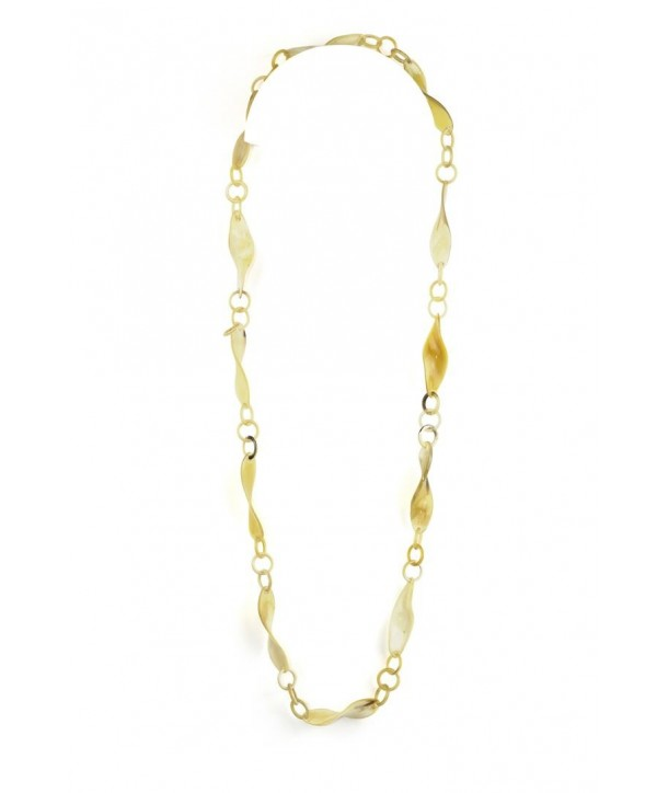 Thin twisted pieces long necklace in blond horn