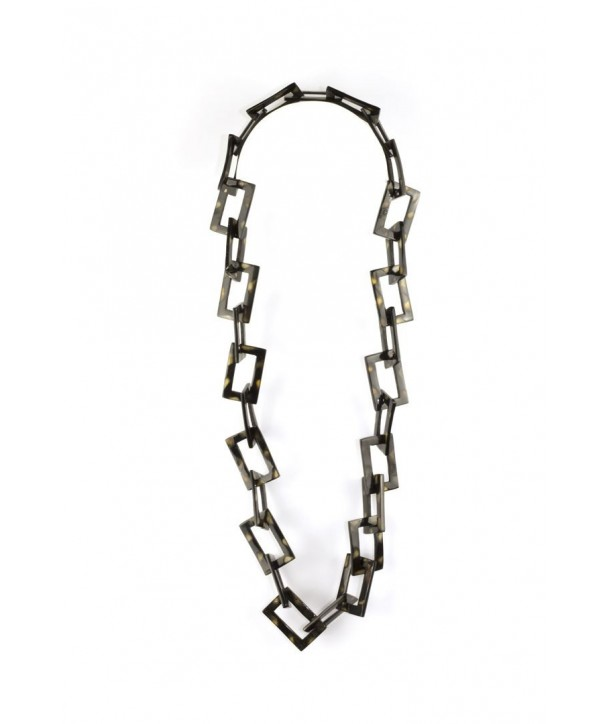 Tortoiseshell effect rectangular rings long necklace in horn