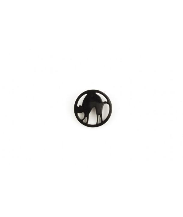 Broche chat en corne noire unie