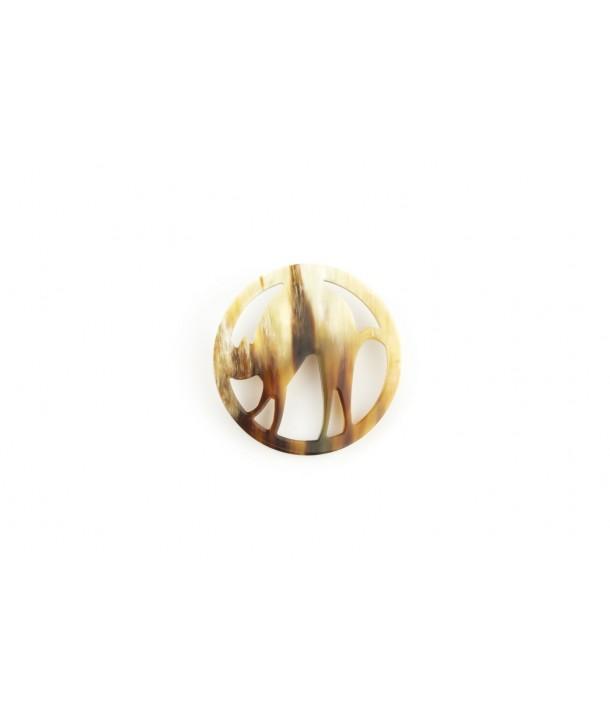 Cat brooch in blond horn