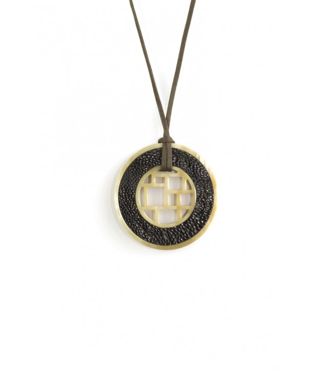 Checkered blond horn pendant with black ostrich leather