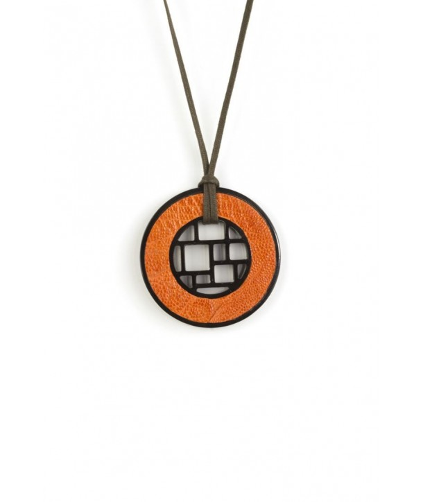 Checkered black horn pendant with orange ostrich leather