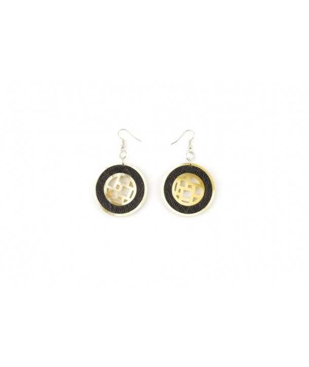 Checkered blond horn earrings with black ostrich leather