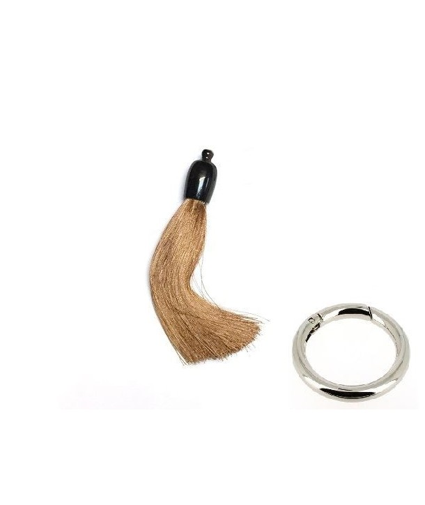 Charm's pompon en corne et fil beige