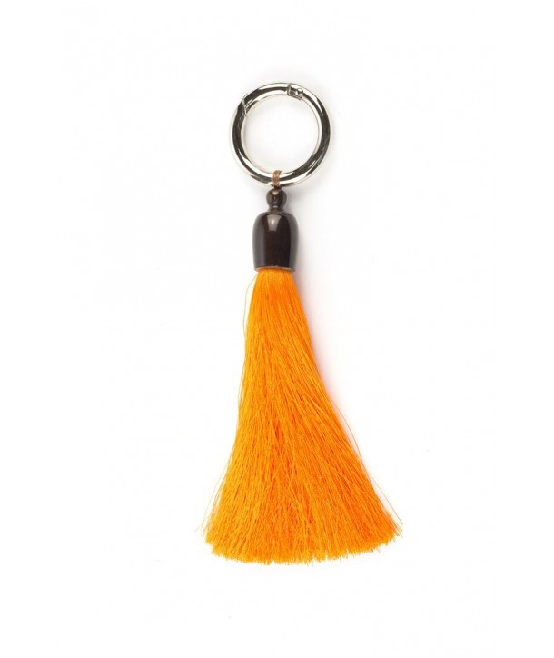 Tassel charm in horn and orange thread