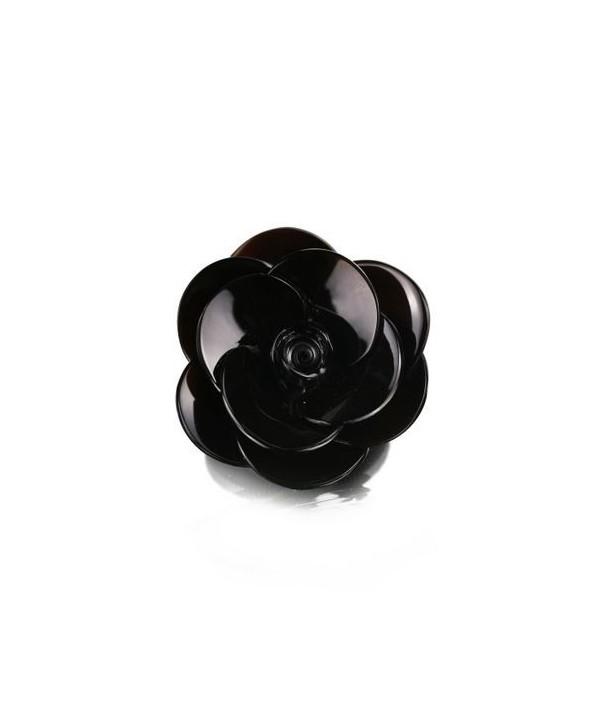 Petite broche fleur en corne noire unie