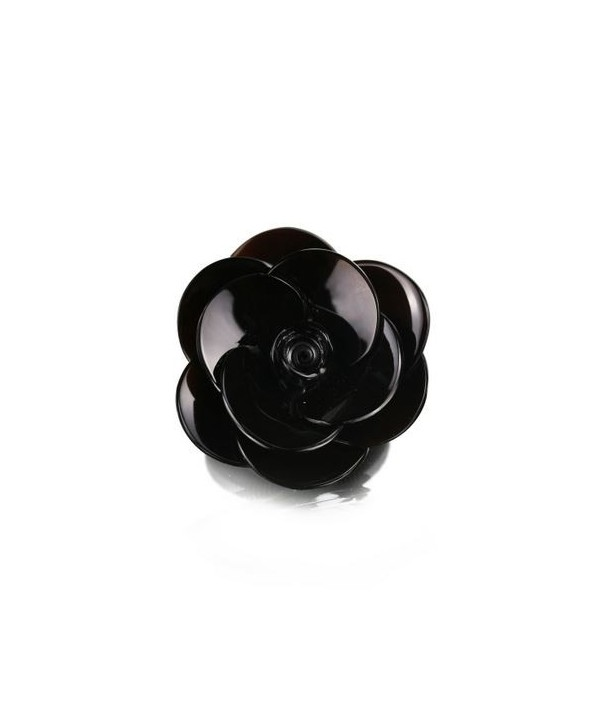 Small flower brooch in plain black horn