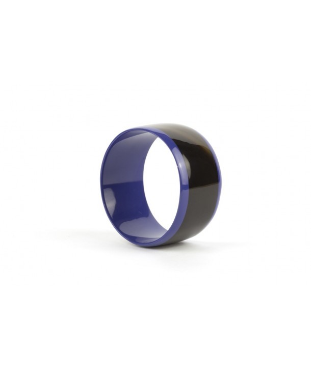 Broad indigo blue inner and edges lacquered bracelet