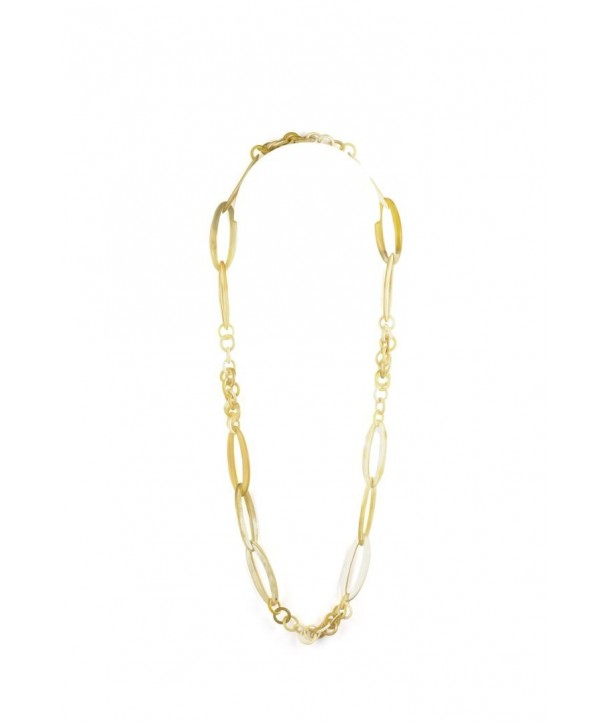 Round and oval rings long necklace in blond horn