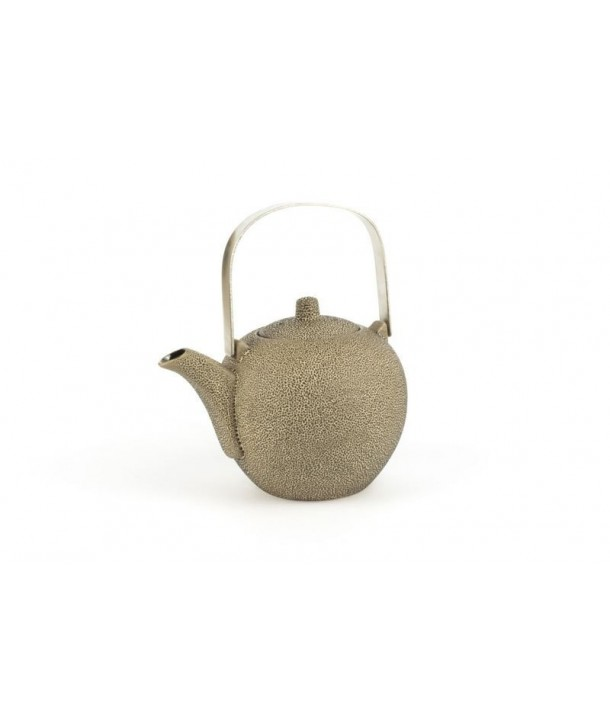 Black round teapot with stainless steel handle