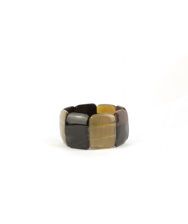 8 large piece articulated bracelet in black and blond horn