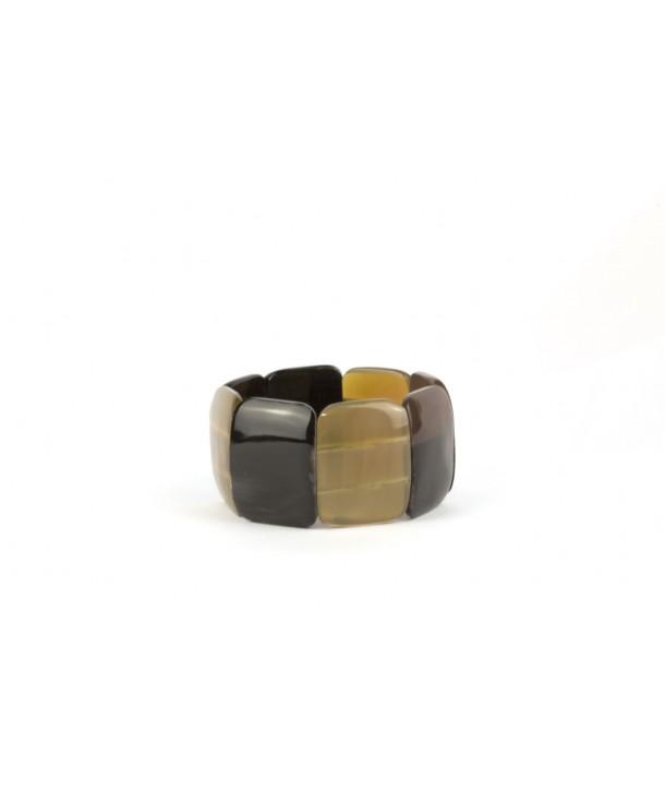Bracelet articulé 8 grosses pièces en corne noire et blonde