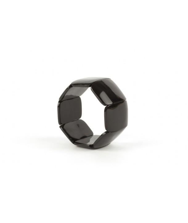 Bracelet articulé 8 grosses pièces en corne noire unie