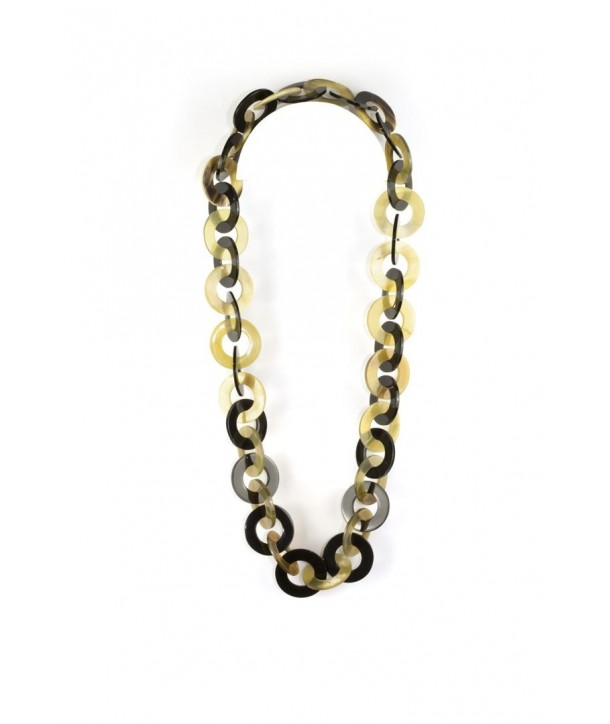 Wide flat rings long necklace in blond horn