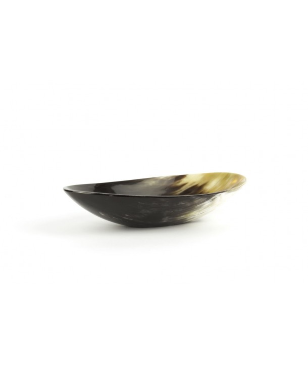 Large oval cup in marbled black horn