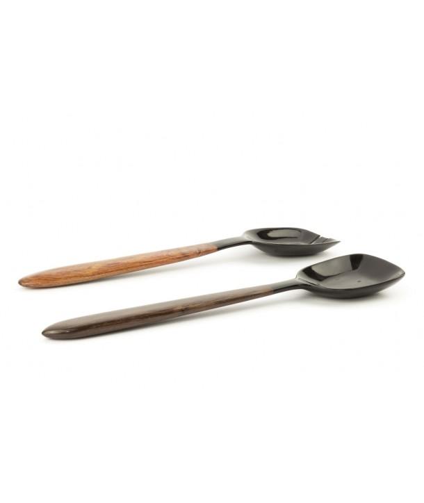 Couverts spatule carrée en corne noire et bois de rose