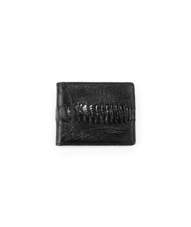 Petit portefeuille cuir autruche noir