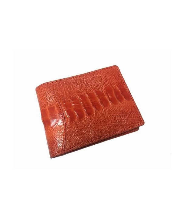 Small wallet in orange ostrich leather