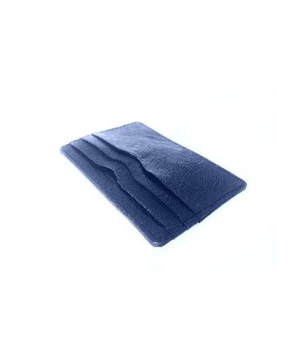 Etui porte carte cuir autruche bleu