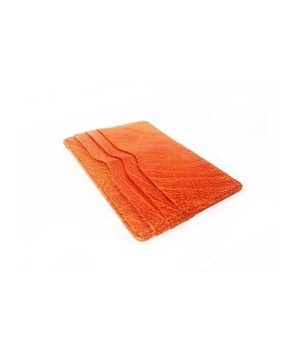 Etui porte carte cuir autruche orange