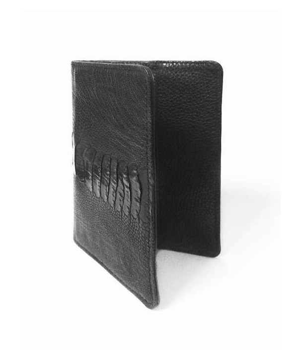 Passport case in black ostrich and cow leather