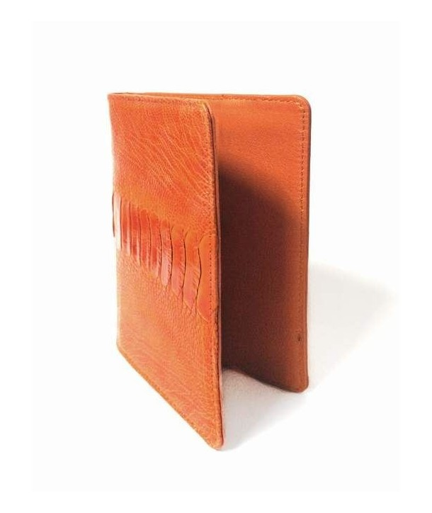Passport case in orange ostrich and cow leather
