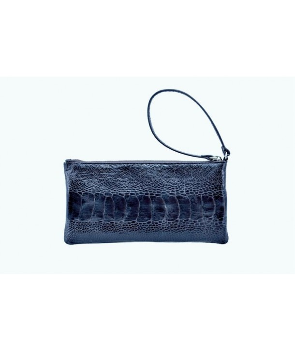 Small pouch in blue ostrich and cow leather