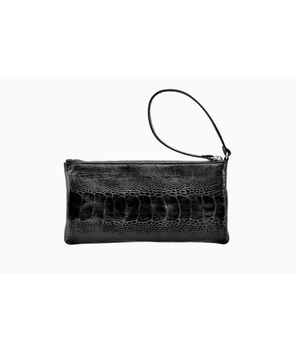 Small pouch in black ostrich and cow leather
