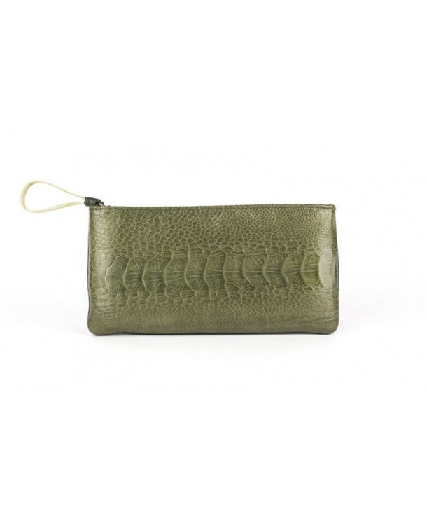 Small pouch in green ostrich and cow leather