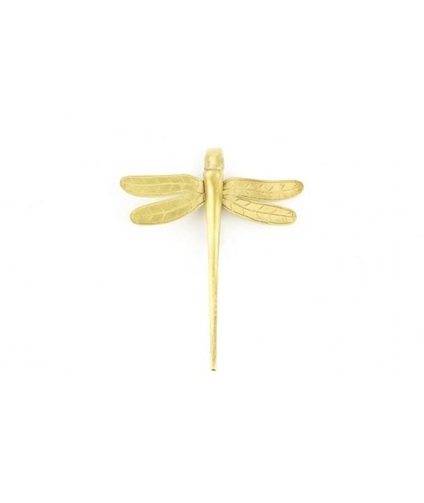Broche libellule métal en laiton cuivré