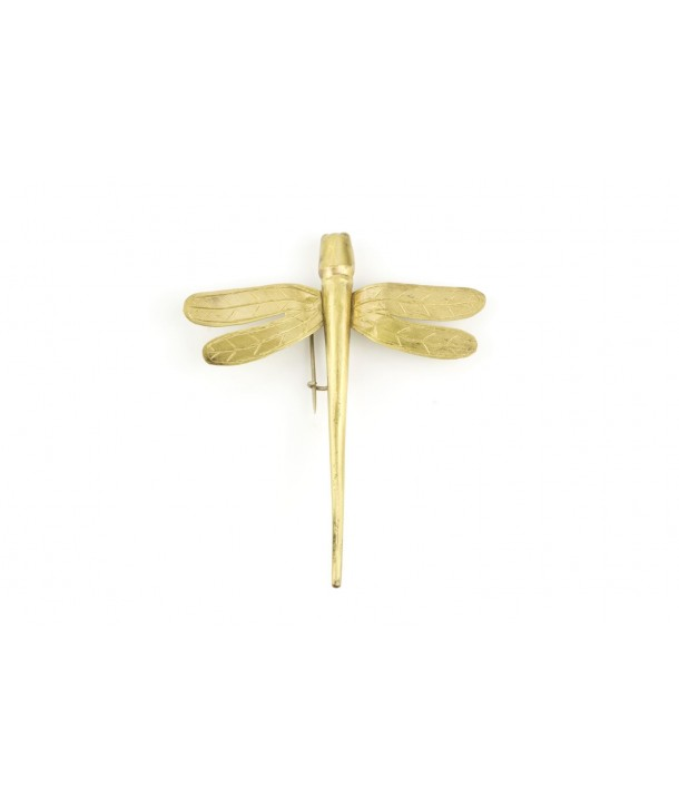 Small dragonfly brooch in coppery brass
