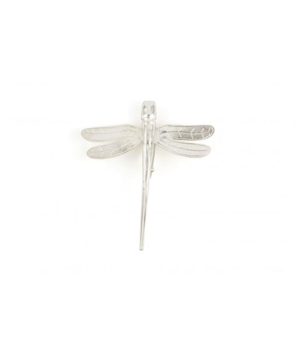 Petite broche libellule métal en métal argenté