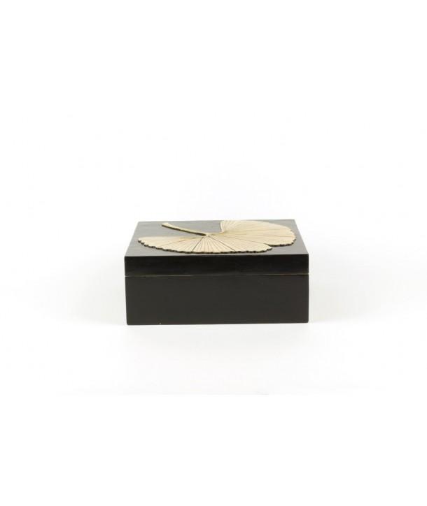 Boîte carrée motif gingko en pierre fond noir